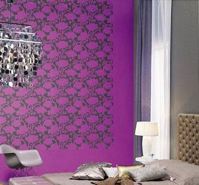 欧式大花浅紫色影视墙效果图