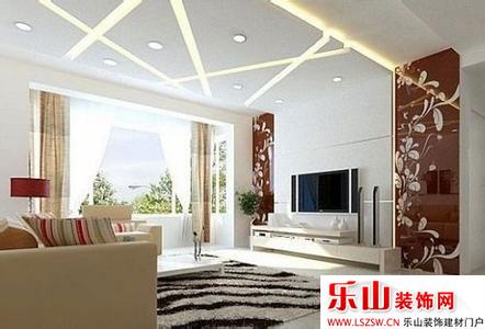 客厅吊顶和影视墙!   过道吊顶效果图:走廊的顶面装饰可利