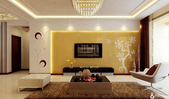 客厅硅藻泥电视背景墙效果图
