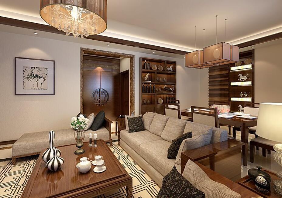 2居室装修效果图现代简约-10万-89㎡-客厅效果设计